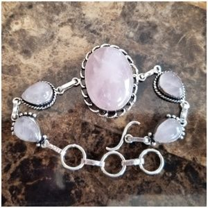 "Jewelry - Natural Rose Quartz Bracelet Size 8.5"""